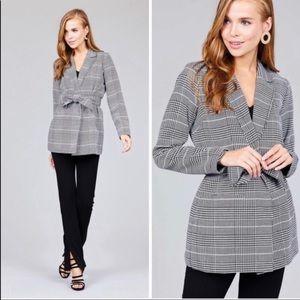 Jackets & Blazers - Black & White Plaid Blazer